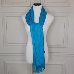 Turquoise fringed scarf